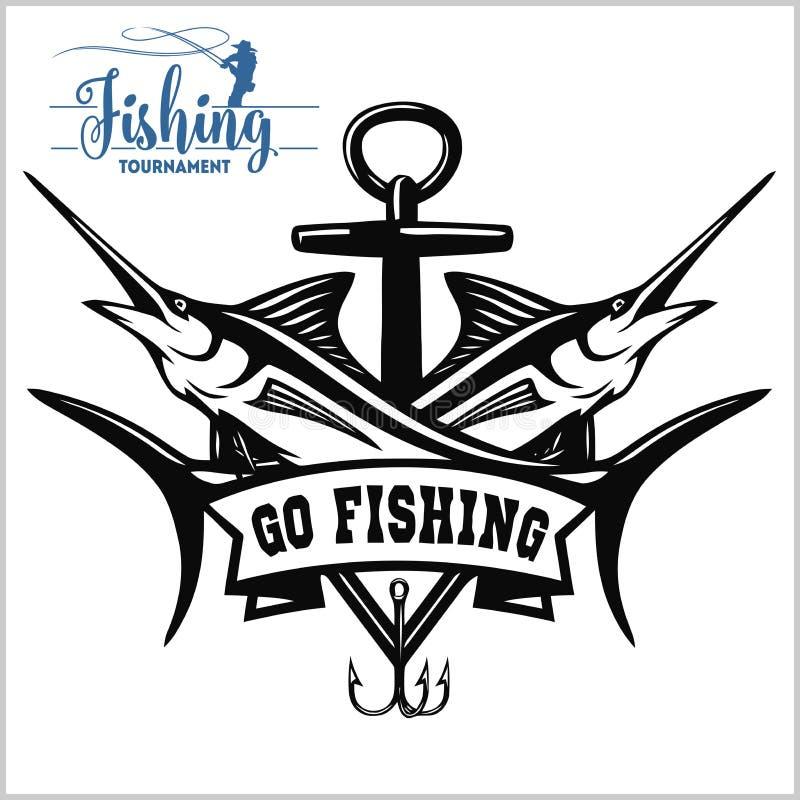 Ejemplo del logotipo de la pesca de la aguja azul Ilustraci?n del vector stock de ilustración