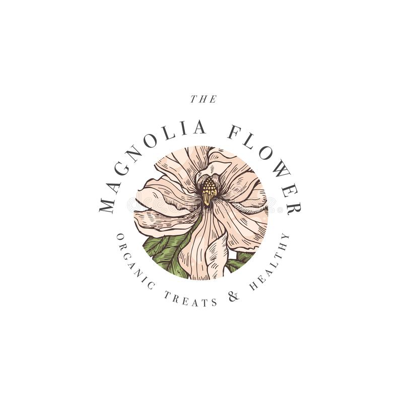 Ejemplo del logotipo de las flores de la magnolia del vector del drenaje de la mano Guirnalda floral Emblema floral botánico con  ilustración del vector