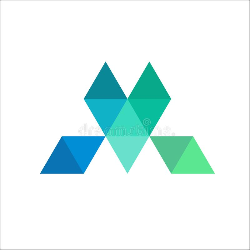 ejemplo del logotipo del mosaico de la letra M ilustración del vector