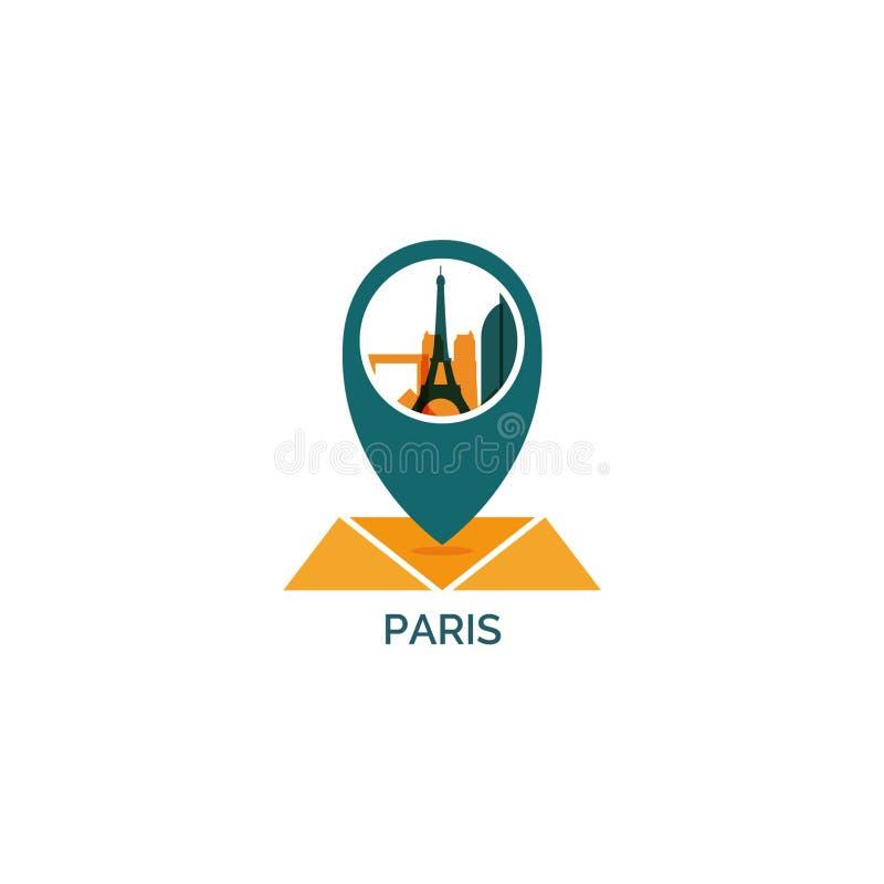 Ejemplo del logotipo del vector de la silueta del horizonte de la ciudad de París libre illustration