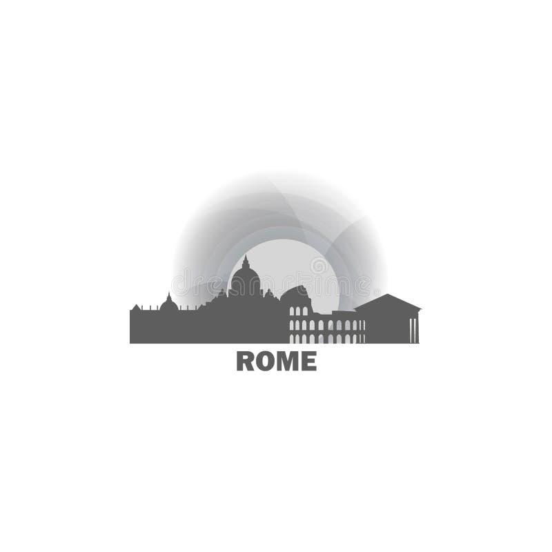 Ejemplo del logotipo del vector de la silueta del horizonte de la ciudad de Roma stock de ilustración