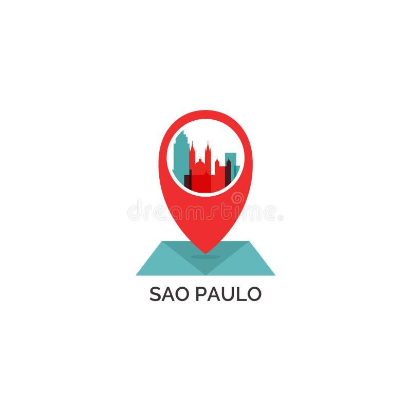Ejemplo del logotipo del vector de la silueta del horizonte de la ciudad de Sao Paulo libre illustration