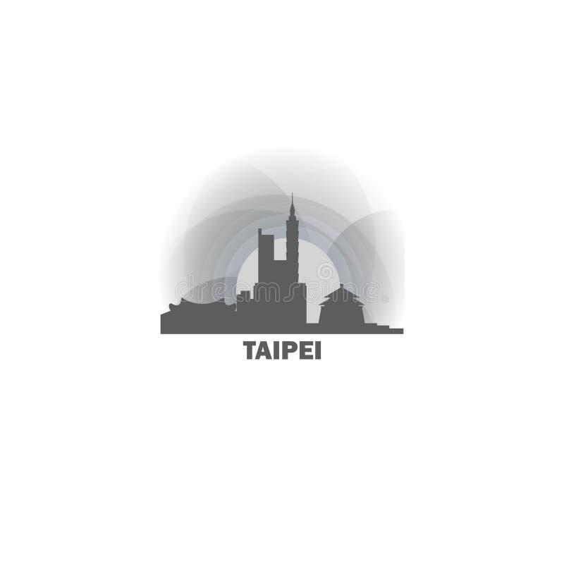 Ejemplo del logotipo del vector de la silueta del horizonte de la ciudad de Taipei libre illustration