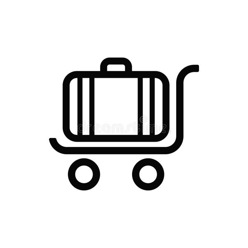 Ejemplo del logotipo del vector del icono clásico del equipaje del viajero en una carretilla con las ruedas libre illustration