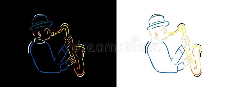 Ejemplo del músico de jazz en la línea estilo del arte en fondo negro y el fondo blanco Línea arte del vector del color del Jazzm ilustración del vector