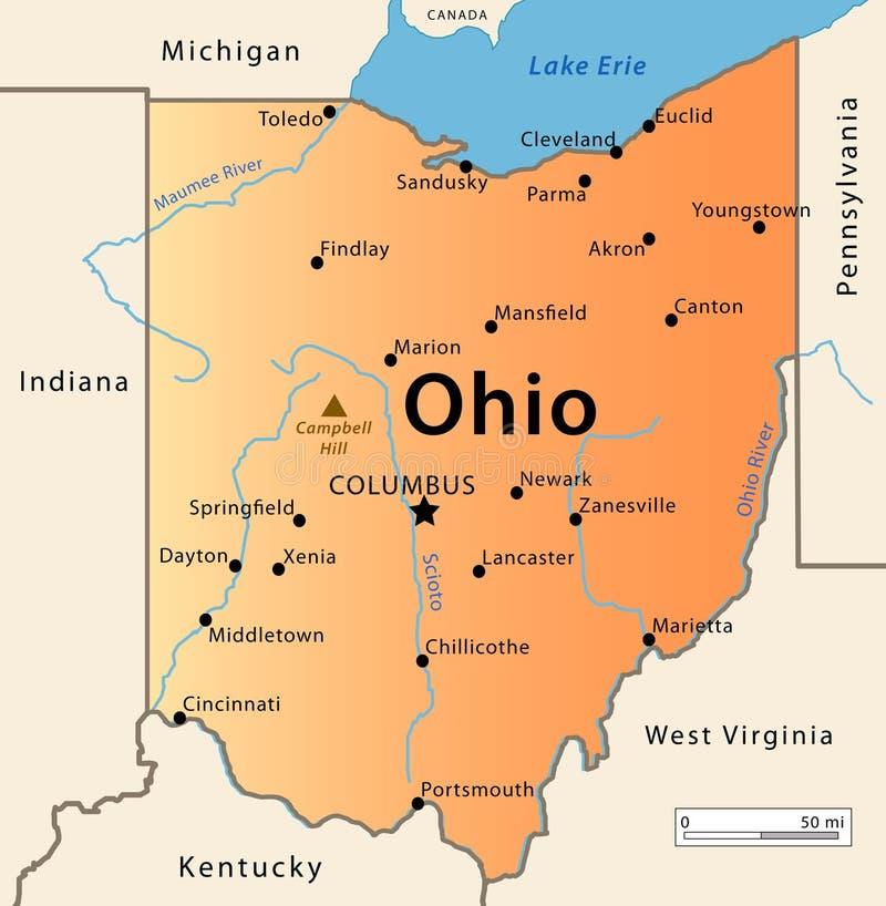 Mapa de Ohio stock de ilustración