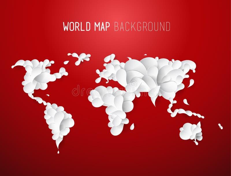 Ejemplo del mapa del mundo creado de hojas con todos los continentes libre illustration