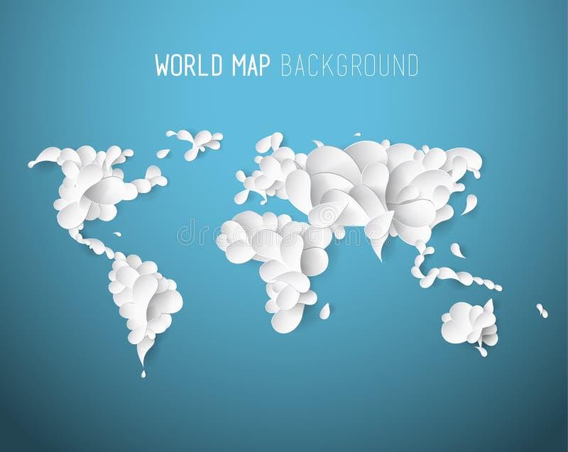 Ejemplo del mapa del mundo creado de hojas con todos los continentes stock de ilustración
