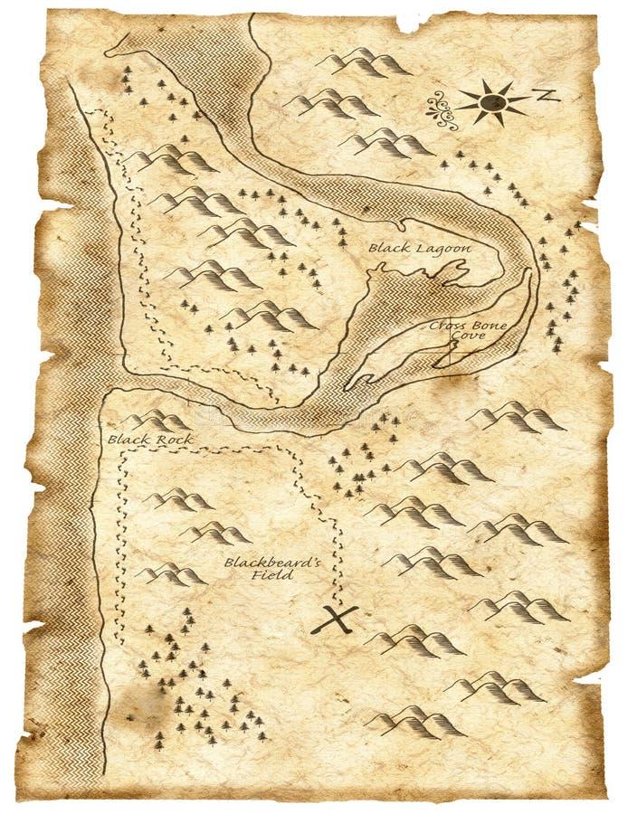 Ejemplo del mapa del tesoro del pirata ilustración del vector