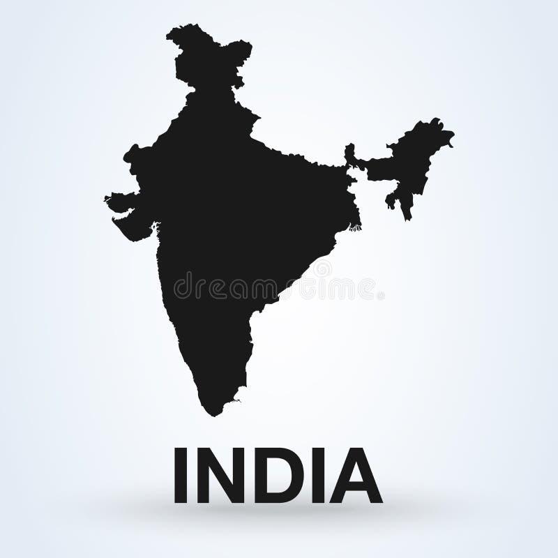Ejemplo del mapa negro plano detallado del vector de la India, Asia ilustración del vector
