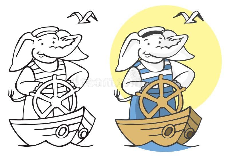 Ejemplo del marinero del elefante ilustración del vector