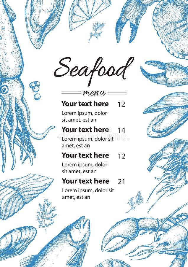 Ejemplo del menú del restaurante de los mariscos del vintage del vector Mano drenada libre illustration