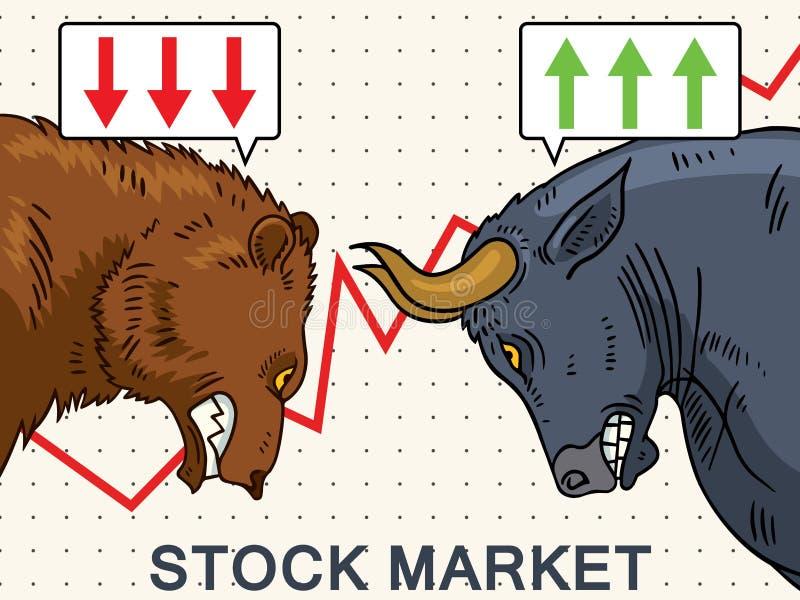 Ejemplo del mercado de acción de Bull y del oso stock de ilustración