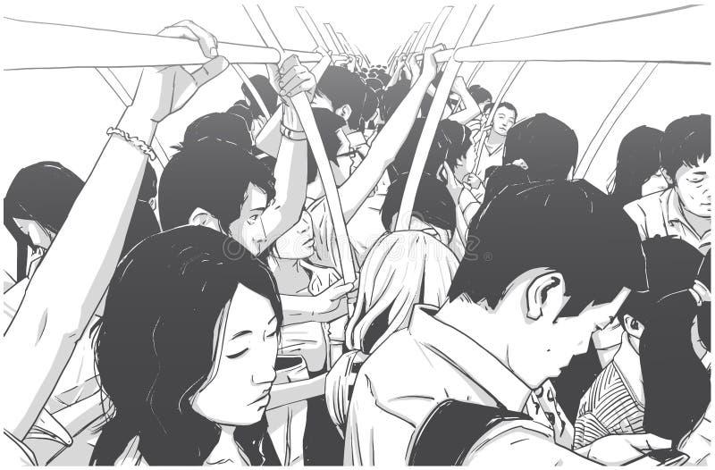 Ejemplo del metro apretado, carro del subterráneo sobre hora punta stock de ilustración