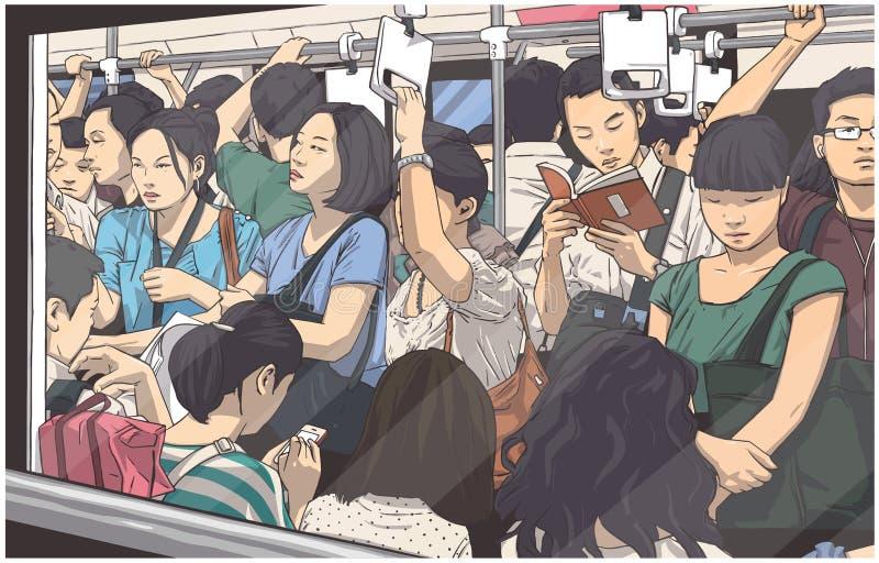 Ejemplo del metro apretado, carro del subterráneo sobre hora punta ilustración del vector