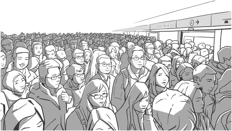 Ejemplo del metro apretado, estación de metro Carro de embarque de la gente sobre hora punta libre illustration