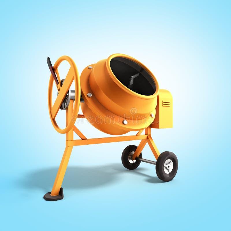 Ejemplo del mezclador concreto 3D en bacground azul ilustración del vector