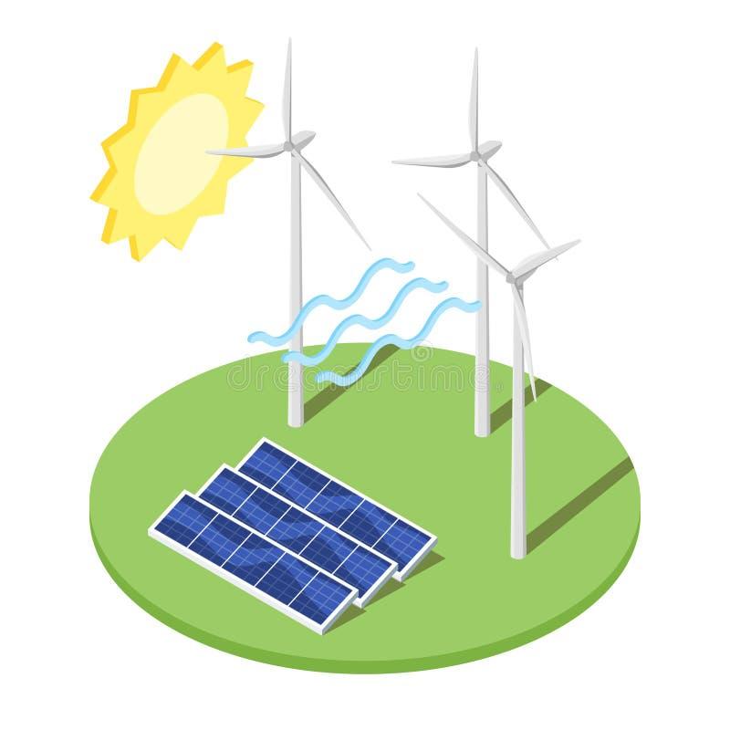 Ejemplo del molino de viento y de los paneles solares stock de ilustración