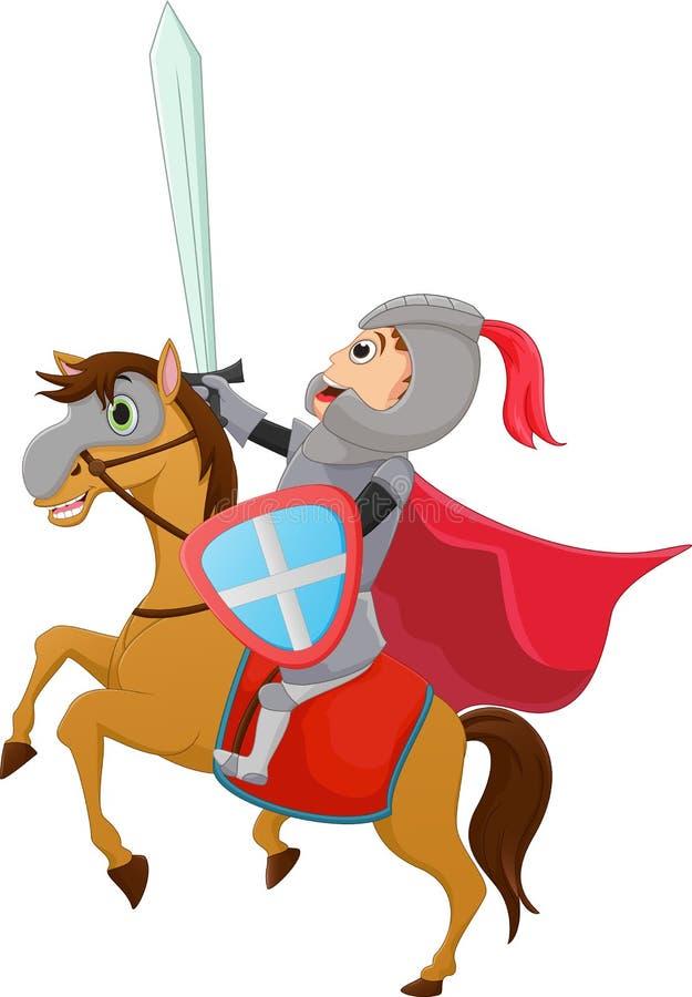Ejemplo del montar a caballo del caballero Brave en un caballo stock de ilustración