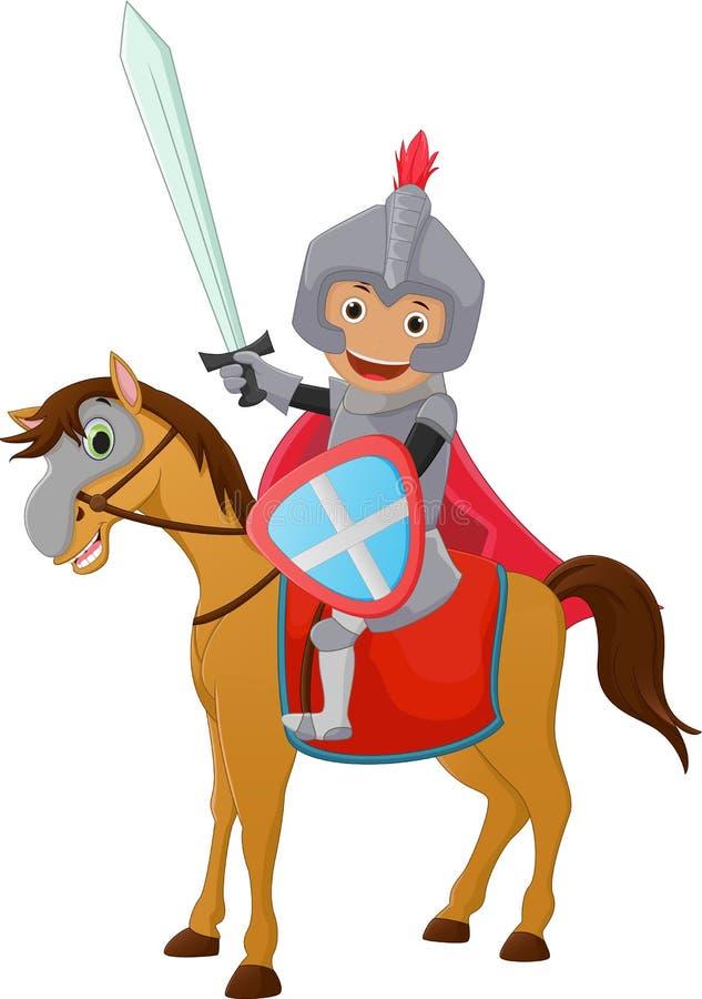Ejemplo del montar a caballo del caballero Brave en un caballo ilustración del vector