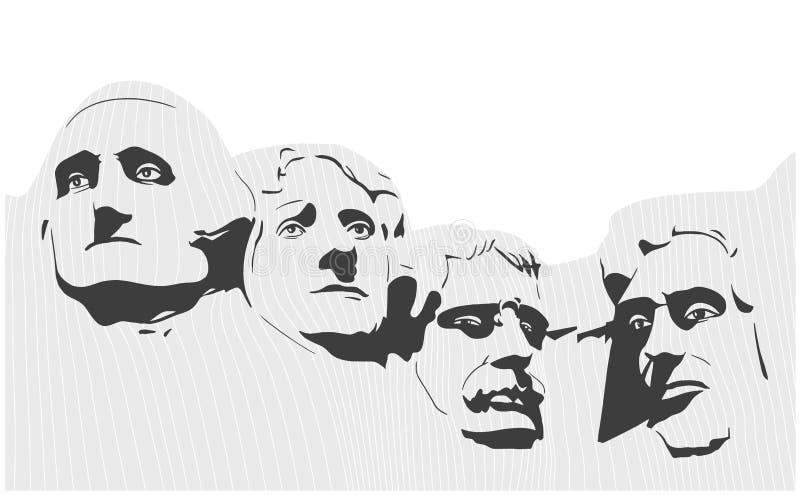 Ejemplo del monumento nacional del monte Rushmore en blanco y negro ilustración del vector