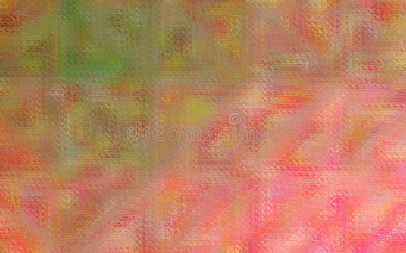Ejemplo del mosaico brillante rosado y verde a través del fondo de los ladrillos de cristal stock de ilustración