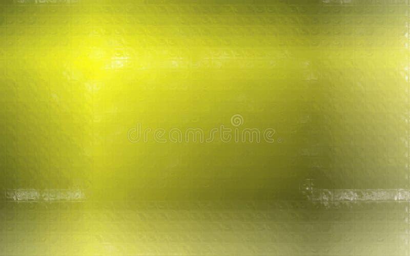 Ejemplo del mosaico colorido amarillo limón y verde a través del fondo de los ladrillos de cristal stock de ilustración
