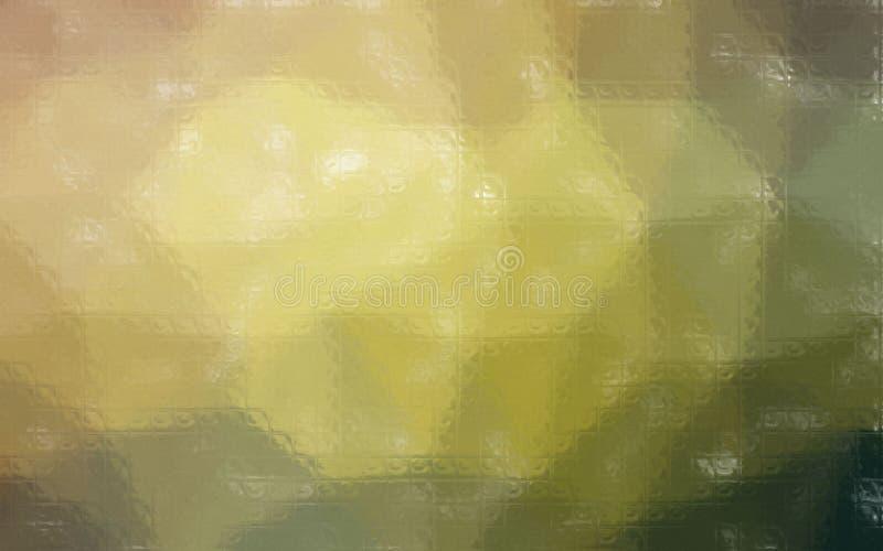 Ejemplo del mosaico colorido amarillo, rojo y negro a través del fondo de los ladrillos de cristal libre illustration