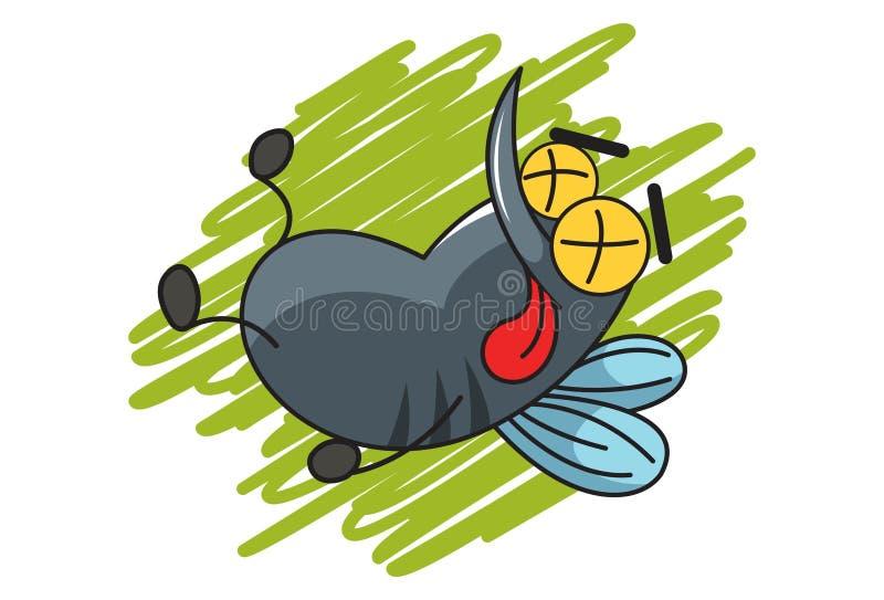 Ejemplo del mosquito lindo de la historieta ilustración del vector