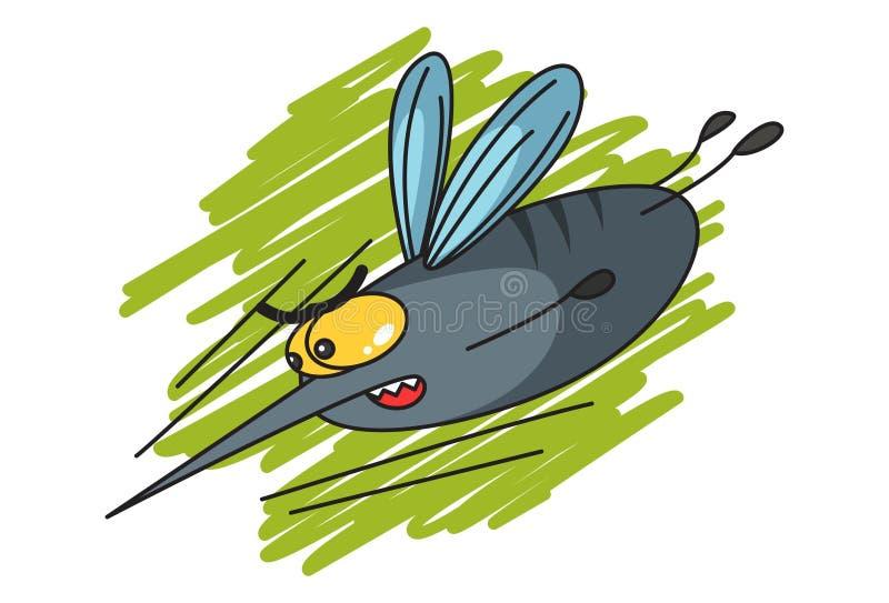 Ejemplo del mosquito lindo de la historieta stock de ilustración