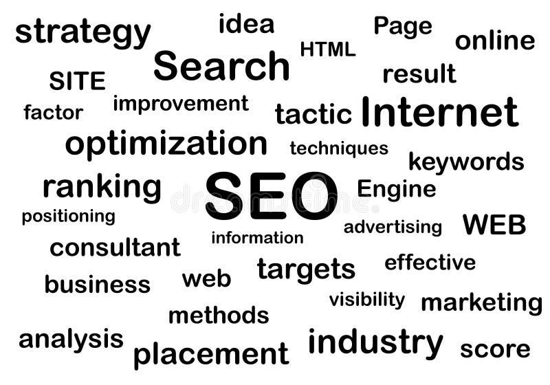 Ejemplo del motor de la optimización de la búsqueda para la página web stock de ilustración