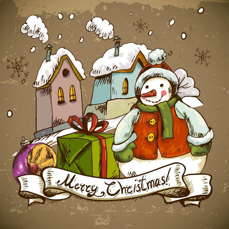 Ejemplo del muñeco de nieve para el diseño de la Navidad ilustración del vector
