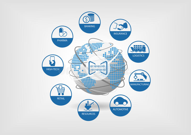 Ejemplo del negocio de Digitaces Los iconos de industrias digitales globales les gusta depositar, seguro, logística stock de ilustración
