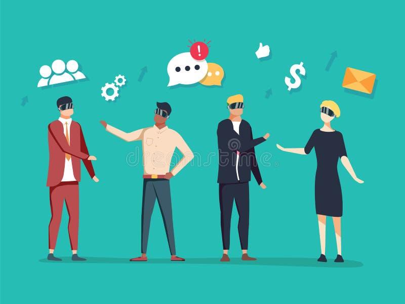 Ejemplo del negocio del vector comunicación de la gente moderna con la ayuda de tecnologías innovadoras ilustración del vector