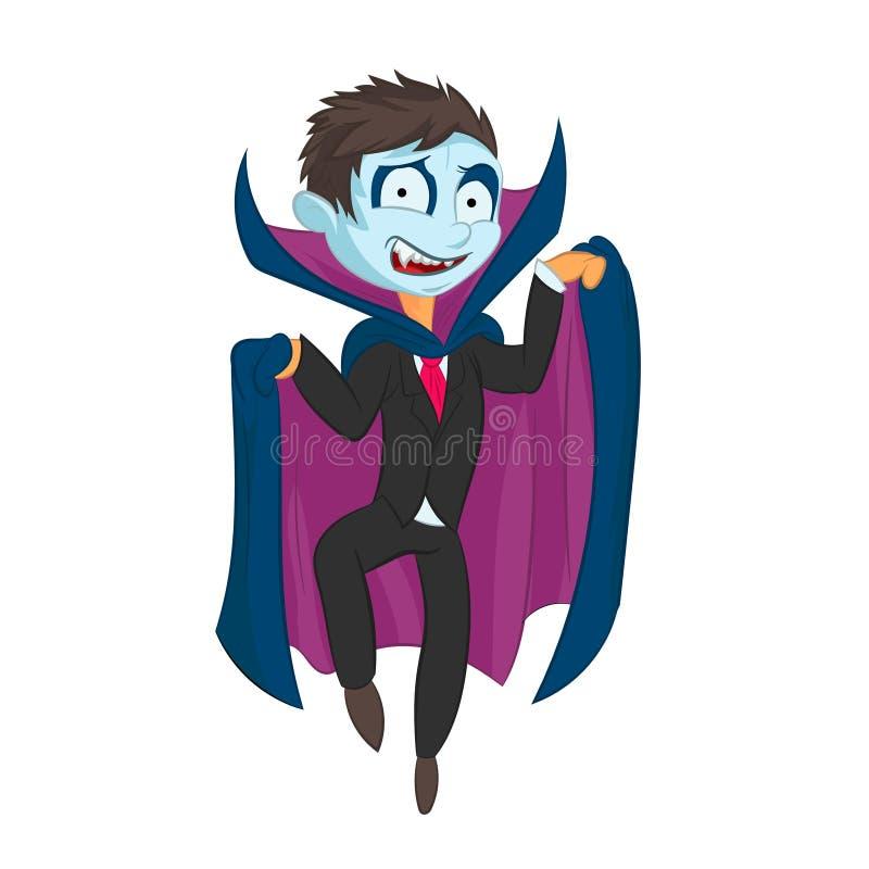 Ejemplo del niño de Drácula de la historieta en fondo aislado foto de archivo libre de regalías