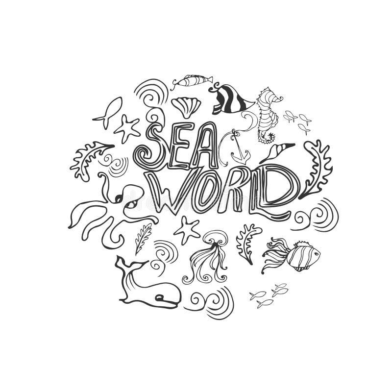 Ejemplo del océano del mundo del mar cartel handdrawn con el le libre illustration