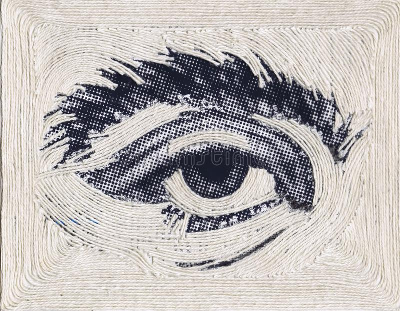 Ejemplo del ojo de semitono con la secuencia blanca, espacio de la copia del arte del arte, aspecto horizontal stock de ilustración