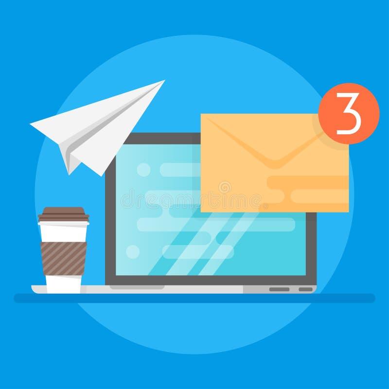 Ejemplo del ordenador portátil, del café y del sobre Concepto de email stock de ilustración