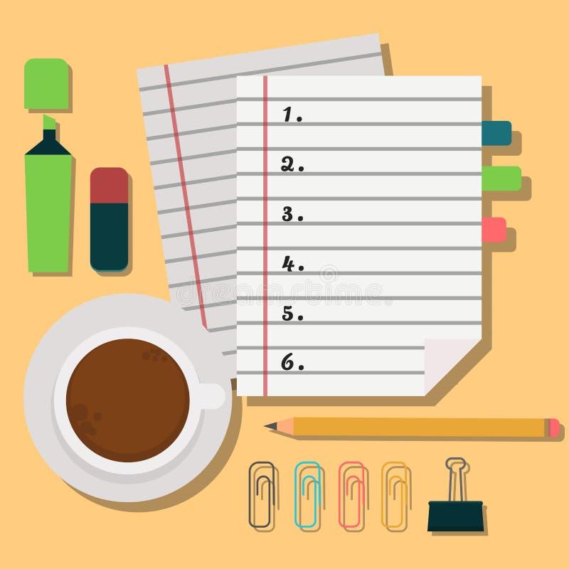 Ejemplo del organizador del planificador del recordatorio del trabajo del plan de la nota del negocio del orden del día del cuade libre illustration
