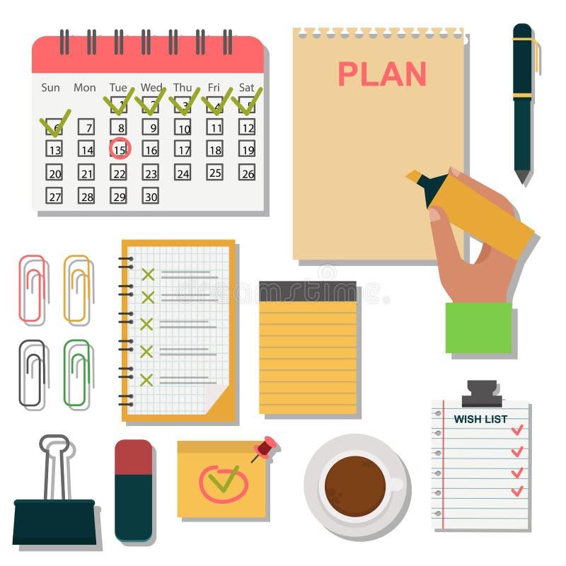 Ejemplo del organizador del planificador del recordatorio del trabajo del plan de la nota del negocio del orden del día del cuade ilustración del vector