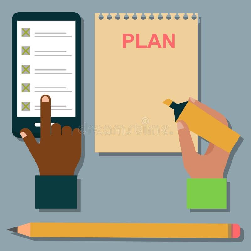 Ejemplo del organizador del planificador del recordatorio del trabajo del plan de la nota del negocio del orden del día del cuade stock de ilustración