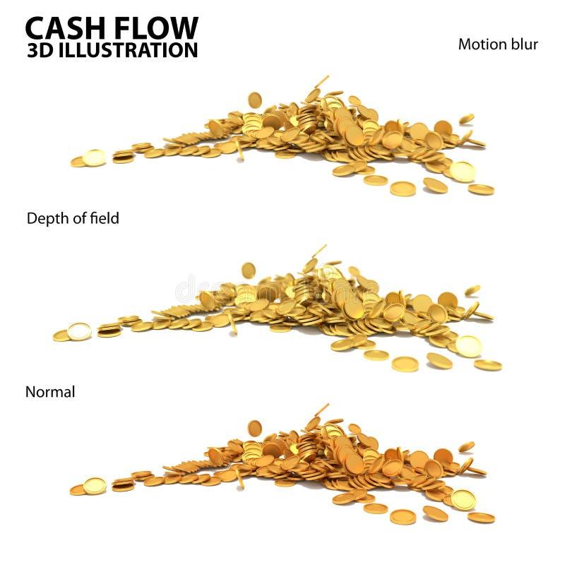 Ejemplo 3 del oro de monedas del flujo de liquidez 3d en uno stock de ilustración