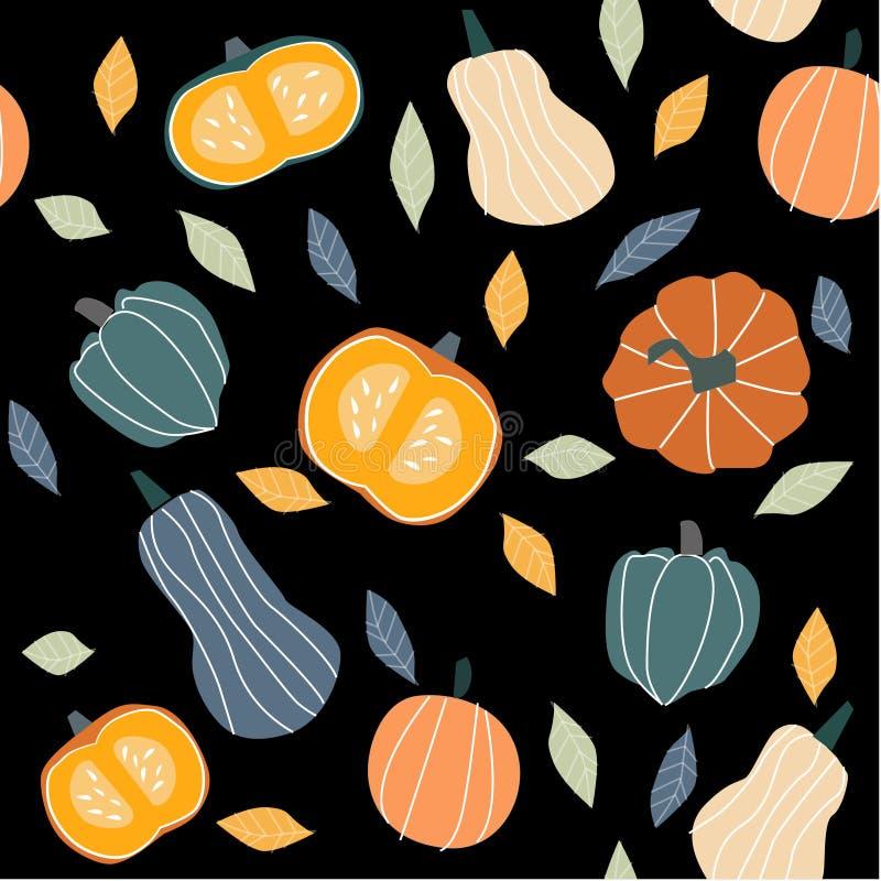 Ejemplo del otoño - calabaza, hojas stock de ilustración
