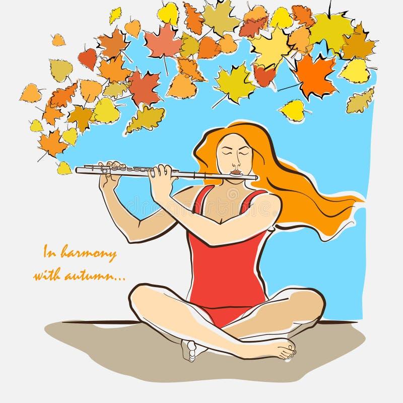 Ejemplo del otoño de la mujer que se sienta en sukhasana y que juega la Florida imagen de archivo