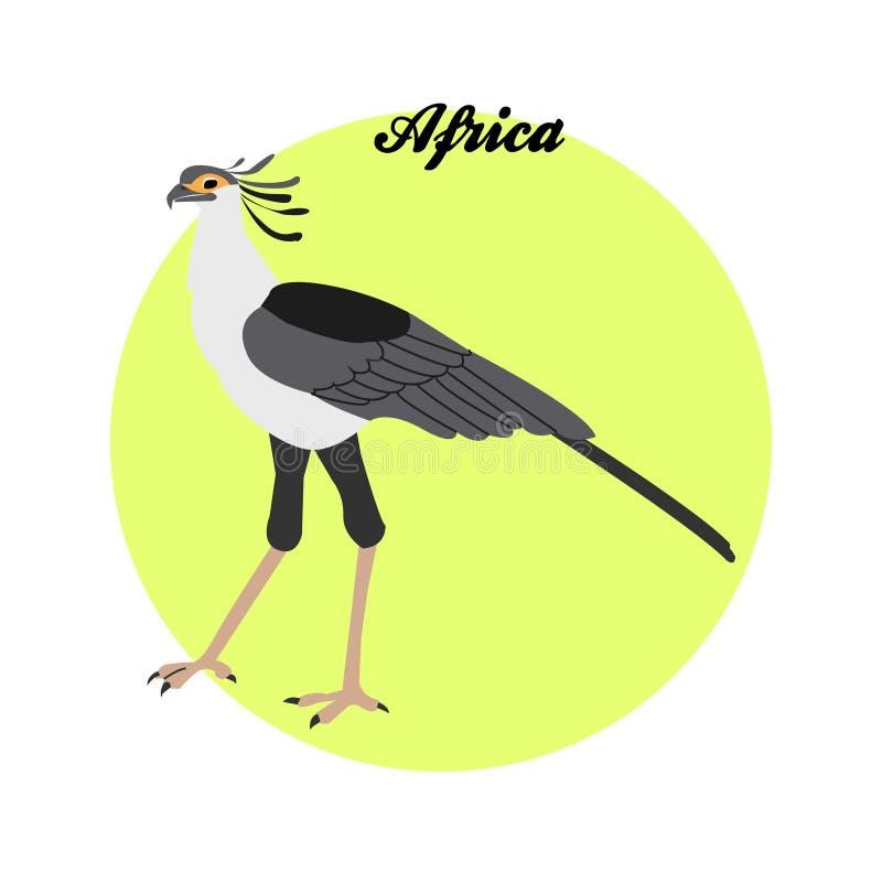 Ejemplo del pájaro de secretaria en el fondo del círculo con libre illustration