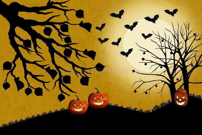 Ejemplo del paisaje de Halloween con las calabazas en la hierba muerta La luna brilla brillante y los palos vuelan la caza para l ilustración del vector