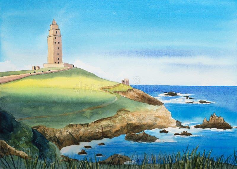 Ejemplo del paisaje de la acuarela España, la torre de Hércules stock de ilustración