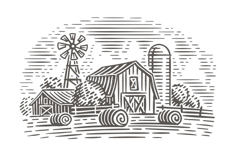 Ejemplo del paisaje de la granja Escena rústica Vector stock de ilustración