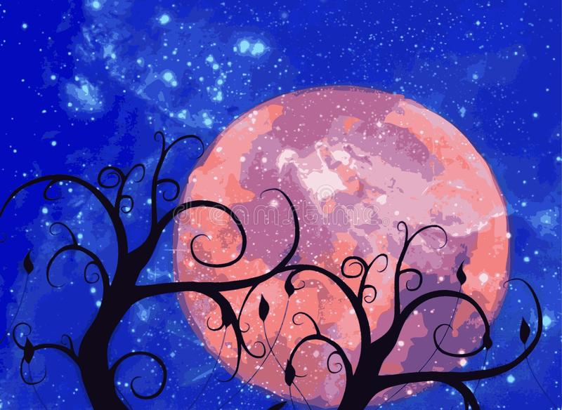 Ejemplo del paisaje de la luna detrás de los árboles ilustración del vector