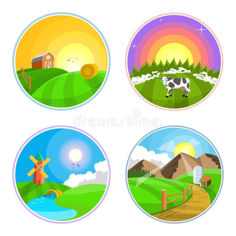 Ejemplo del paisaje del campo con el heno, el campo, el pueblo y el molino de viento Sistema del icono del paisaje de la granja libre illustration